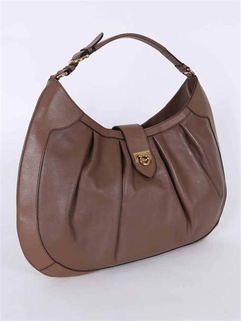 Salvatore Ferragamo Leather salvatore ferragamo leather small gancio hobo bag brown