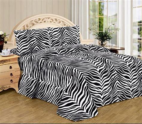 Black White Zebra Print Queen Size Sheet Set 4 Pc Safari Zebra Print Bedding Size
