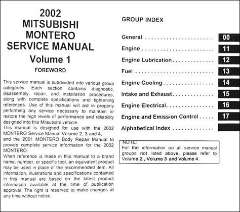 service manual online car repair manuals free 2002 mitsubishi montero sport engine control