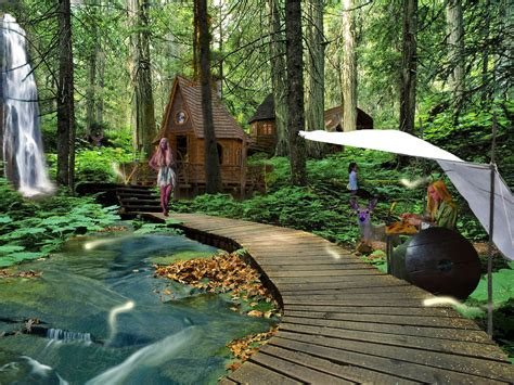 Backyard Guest House water houses deer elves waterfalls elfs wallpaper