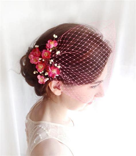 pin up wedding veil pink birdcage veil fuchsia bridal veil wedding veil