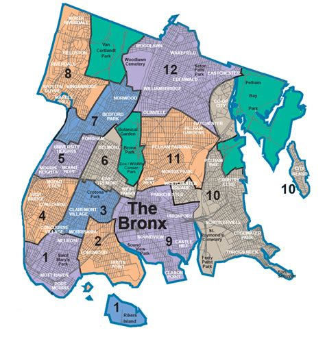 Map Of New York Bronx by Nycdata Maps Boroughs With Community Districts
