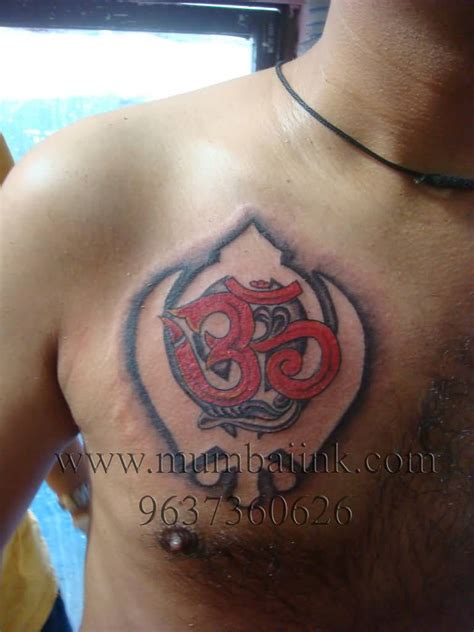 tattoo ideas in punjabi religious om with khanda punjabi tattoo on chest by mumbai ink