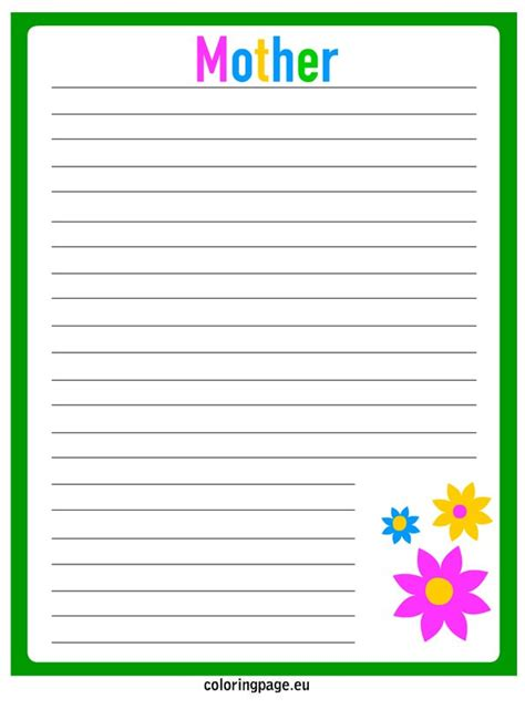 printable writing paper for mother s day mother s day writing paper coloring page