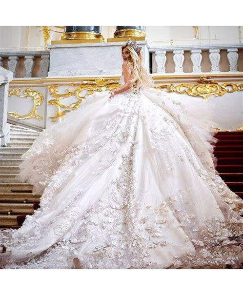 Cathedral Wedding Dress by 3d Floral Applique Cathedral Princess Wedding Dress