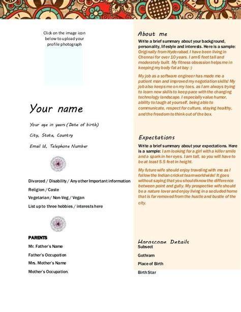marriage biodata word format doc free download edit fill out