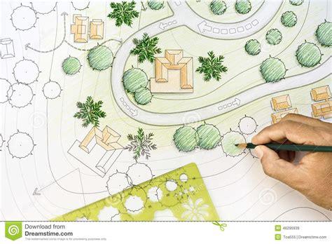 Landscape Architect Facts Landscape Architect Designing On Site Plan Stock Image