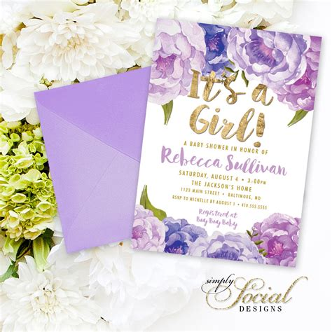purple floral baby shower invitation floral lilac faux gold