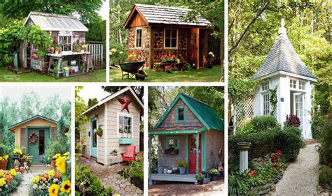 whimsical charming gardens shed designs  art  life