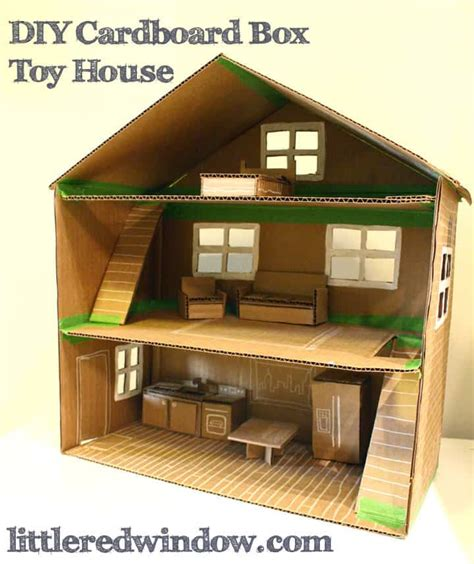 how to make a small doll house diy cardboard box toy house little red window