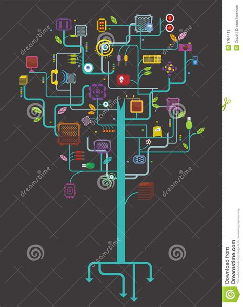 Electronic Tree - electronic tree stock photos image 9764413