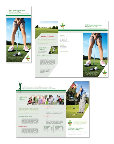 course brochure template golf course tri fold brochure