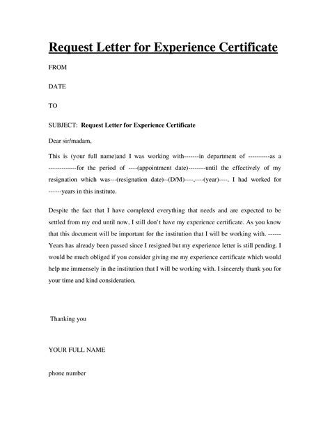 Request Letter For Experience Certificate request letter for experience certificate docslide br