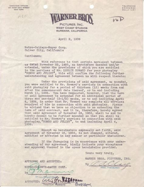 Warwick Acceptance Letter Howard Leslie Two Items Typed Document Signed Agreement