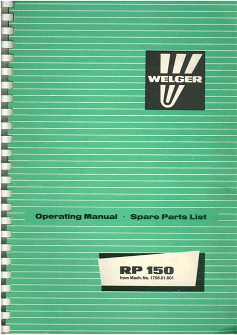 What Makes A Good Home Welger Round Baler Rp150 Operators Manual With Parts List