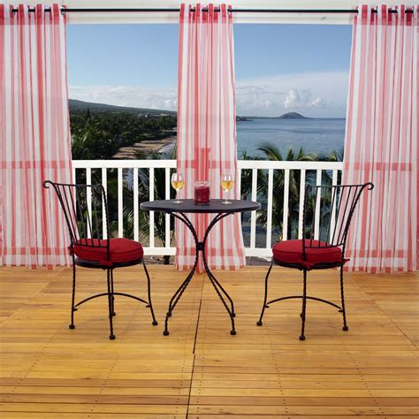 red outdoor curtains shop sheer red stripe outdoor curtain with grommets