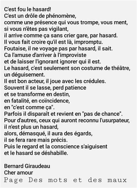 Hasard destin | Les Mots / Words | Pinterest | Citation