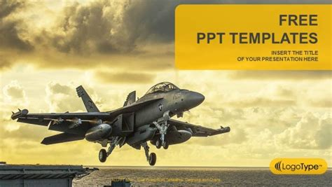 Jet Fighter Taking Off From Aircraft Carrier Powerpoint Airline Ppt Template Free Downloads