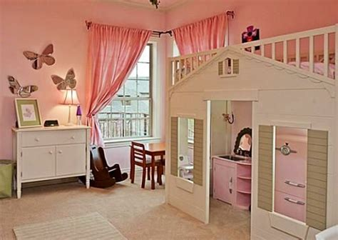 loft bed over playhouse kid rooms pinterest beds