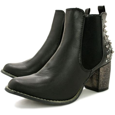 heeled chelsea boots buy cara heeled spike diamante chelsea ankle boots black