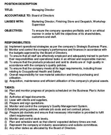 Practice Director Description by Managing Director Description Sle 9 Exles In Word Pdf