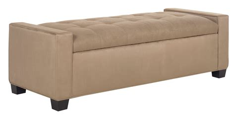 Leather Upholstered Storage Ottoman Bedroom Bench Club Ottoman With Storage