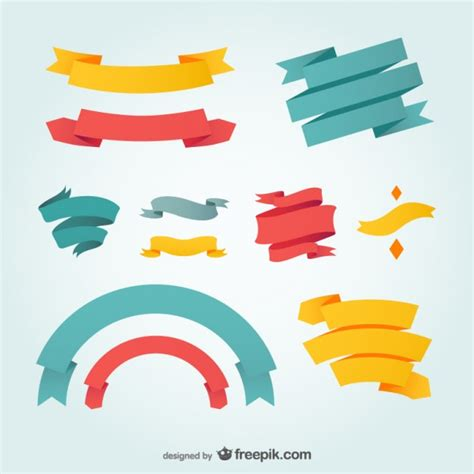 free design vector ai blue red and yellow ribbons vector free download