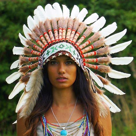 white indian chief headdress 65cm indian headdress