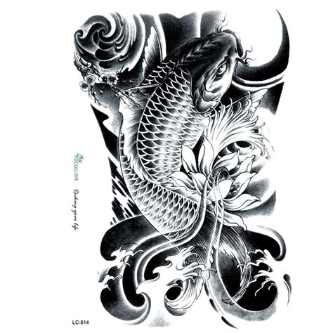 3d large big tatoo sticker sketch black golden fish
