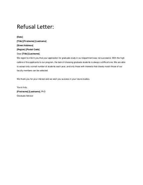 Rejection Letter We Regret To Inform You Authorization Letter