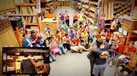 uses flashmob at home depot to propose to his
