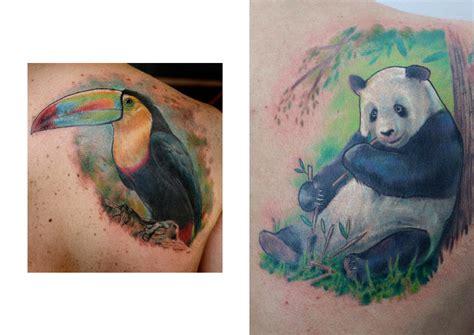 tattoo panda no pé tatouage 201 paule r 233 aliste panda toucan par darwin enriquez