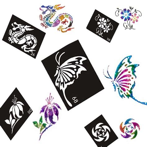 henna tattoo cena 50pcs lot glitter stencil drawing for painting