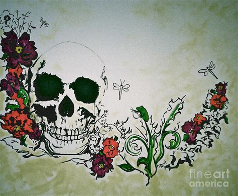 flower skull painting skull flower mural painting by pete maier