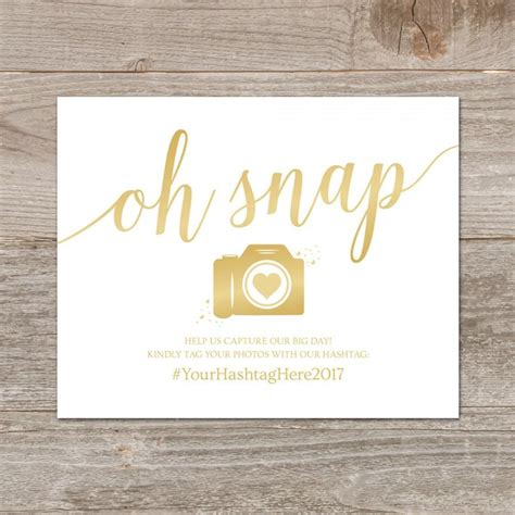 Wedding Hashtag Card Template by Wedding Hashtag Sign Printable Oh Snap Wedding Sign