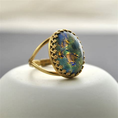 blue opal green and blue fire opal ring by penny masquerade
