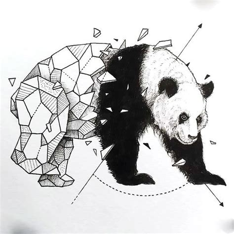 blue panda tattoo half geometric panda design tattooimages biz