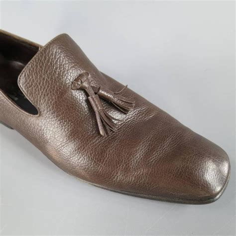 ysl mens loafers s yves laurent size 7 5 brown leather tassel