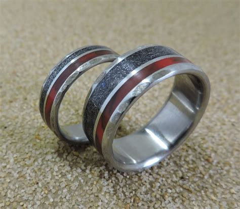 Mens Handmade Rings - titanium rings meteorite rings wedding rings wedding