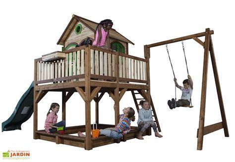 Maison Enfant Bois Liam 2   Toboggan   1 Balançoire