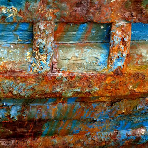 boats rust rusty boat urban decay lovely blue red for artistic