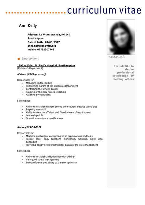 Resume Sample For Nurse by Example Curriculum Vitae Include Skills Gained In French