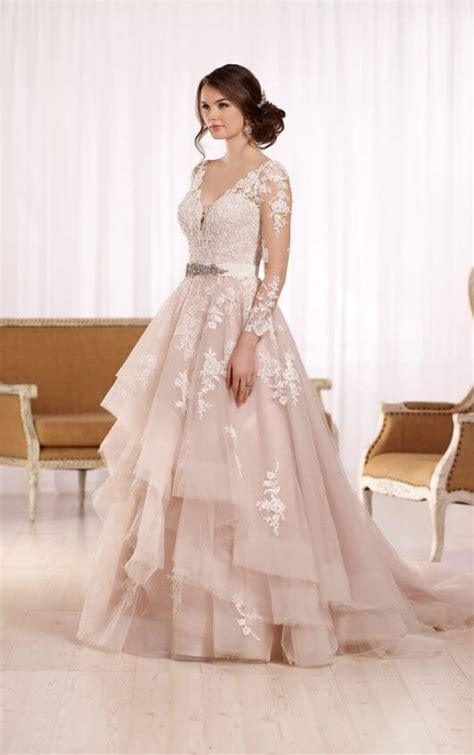 Tulle Sleeve Lace Dress tulle wedding dress with illusion lace sleeves essense