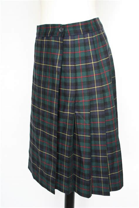 wool kilt green blue plaid tartan skirt uk 10 ebay
