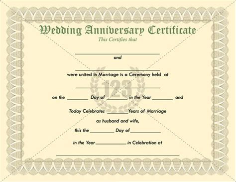 anniversary certificate templates most memorable wedding anniversary certificate templates
