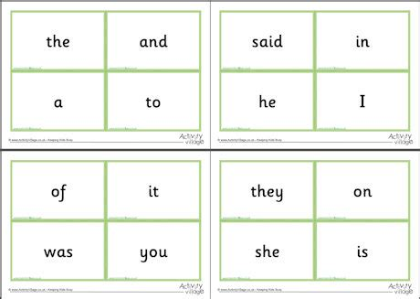 frequency card templates 100 high frequency word flash cards