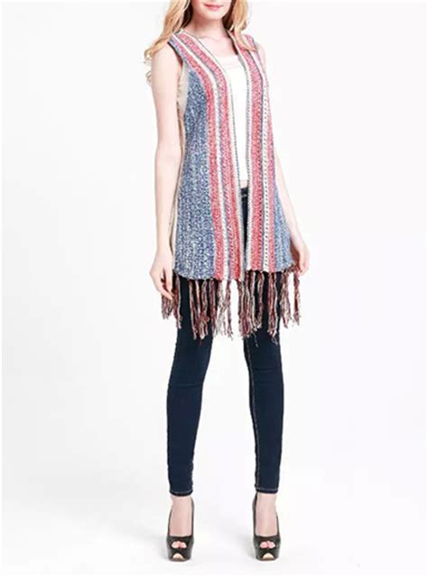 womens knit vest womens knit vest blue and white fringe