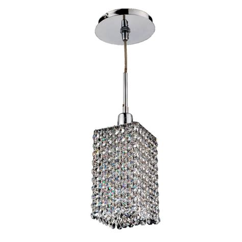Glow Lighting Fuzion X 1 Light Square 2 Layer Crystal And Square Pendant Light