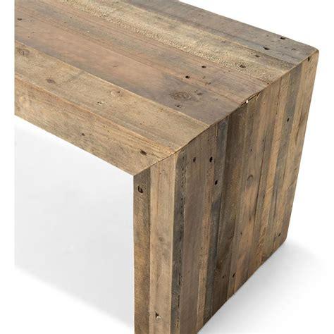 Wynn modern rustic lodge chunky reclaimed wood bench kathy kuo home