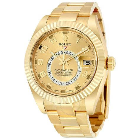 Rolex Sky Dweller Chagne 18k Yellow Gold Oyster